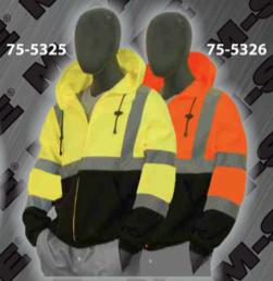 Safety Sweatshirts - ANSI Class 3 Hooded, Zipper Front Sweatshirt