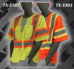 Safety Vests - ANSI Class 3 Short-Sleeve Zipper Front Vests